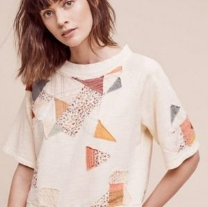 Anthro Postmark Patchwork Sweatshirt